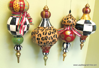 hand painted paper mache large ornaments