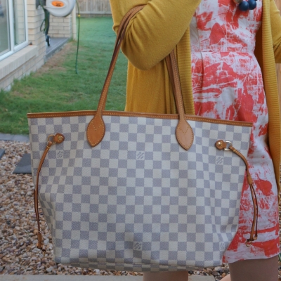 orange printed sheath dress with louis vuitton neverfull mm tote | awayfromtheblue
