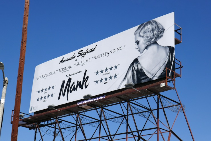 Amanda Seyfried Mank FYC billboard