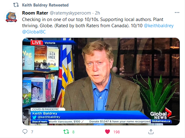 Tweet showing Room Rater gives Keith Baldrey 10/10, with a copy of Wag on his bookshelf behind him