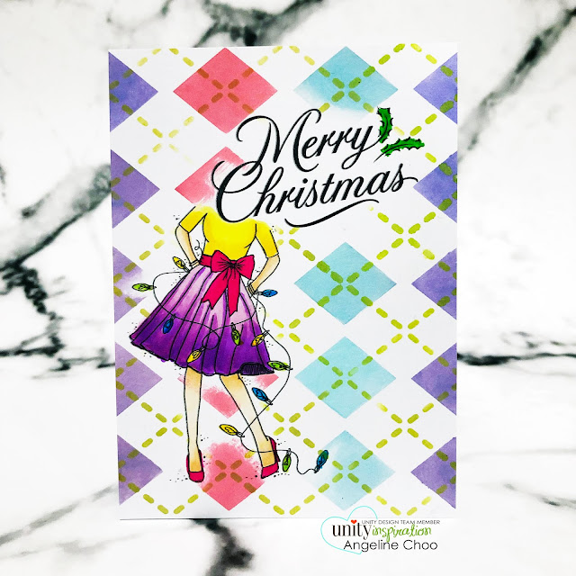 ScrappyScrappy: Thanksgiving and Christmas with Unity Stamp - Argyle stencil background #scrappyscrappy #unitystampco #card #youtube #quicktipvideo #stamp #christmascard #merrychristmas #newtonsnookdesigns #multilayerstencil #argylestencil #timholtz #distressoxideinks #copicmarkers #argyle