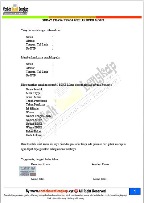Contoh Surat Kuasa Pengambilan Bpkb Fif - Kumpulan Surat ...