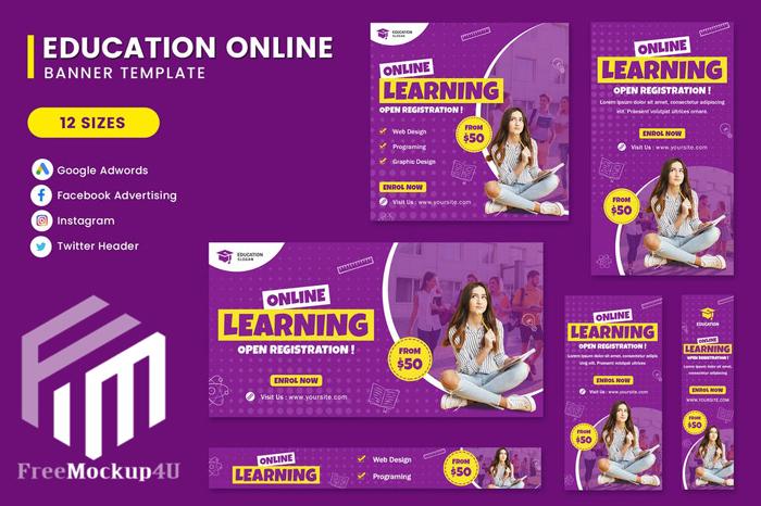 12 Online Learing Banner Set Template Elements Bundle Pack