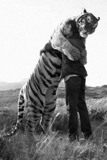 foto de abrazo entre un hombre y un tigre