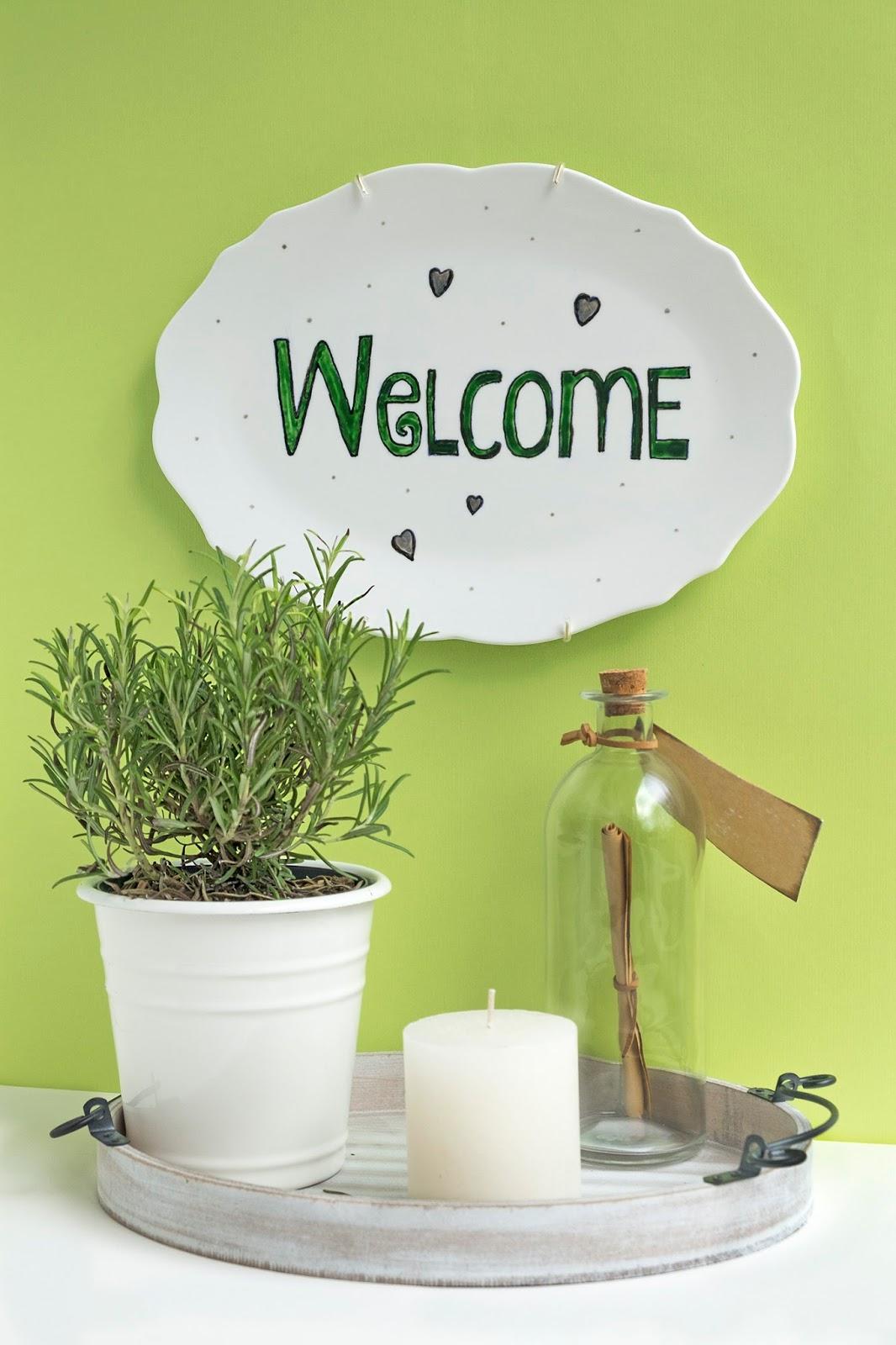 diy welcome op porselein schilderen uitleg