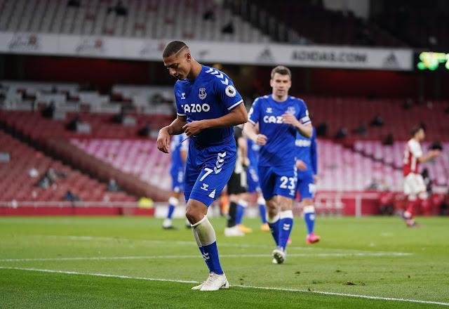 Everton forward Richarlison celebrating with a dance