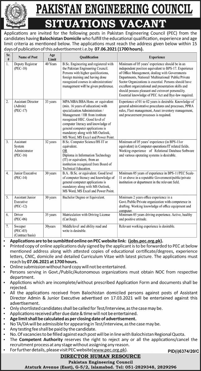 Pakistan Engineering Council PEC Jobs 2021 Advertisement in Pakistan