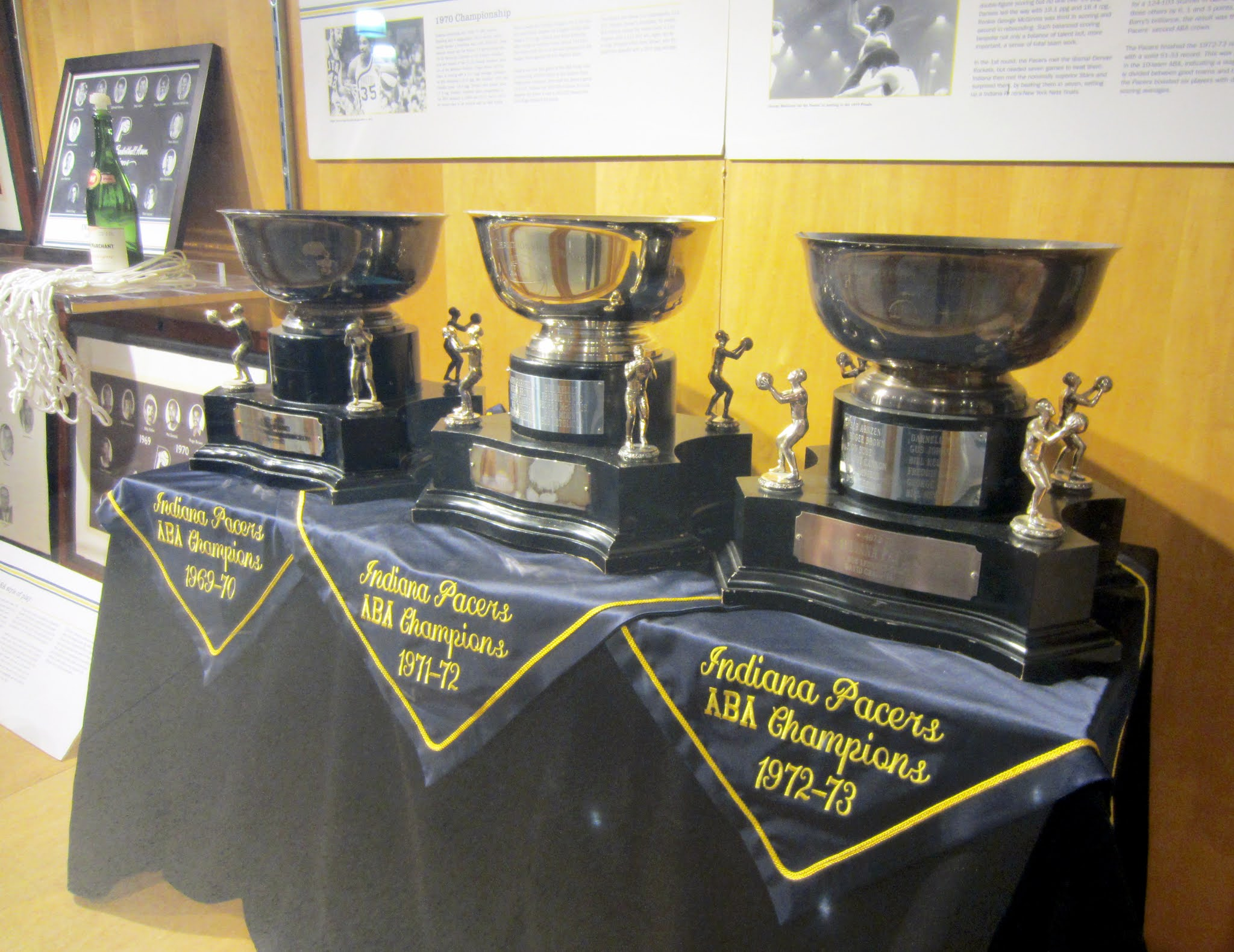 The Indiana Pacers ABA Championship trophies on display at Bankers Life Fieldhouse