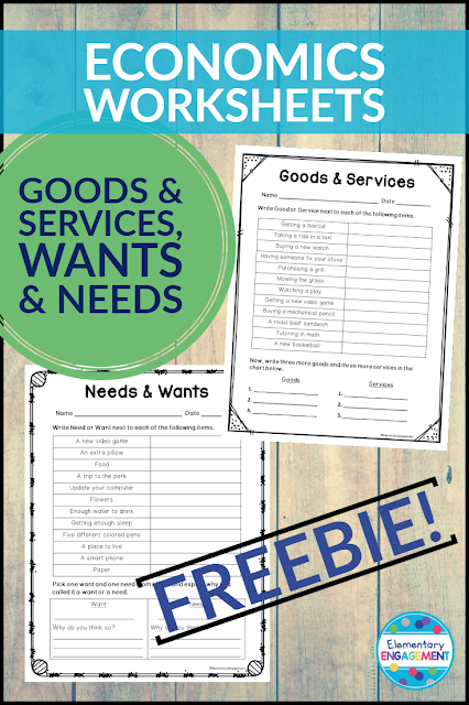 Enjoy using these two free worksheets with your economics unit.  They assess students' understanding of goods and services & wants and needs.
