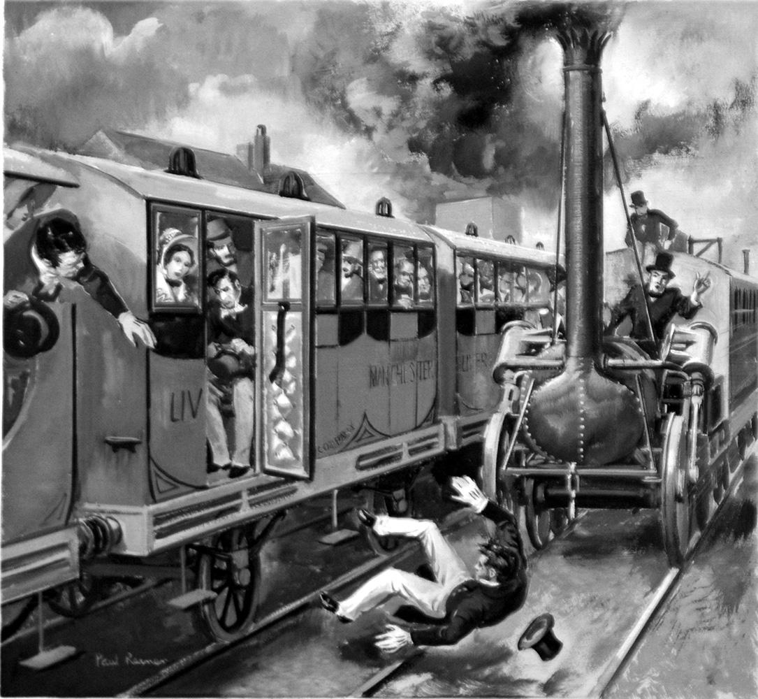 Wypadek kolejowy Williama Huskissona; pierwsza znana ofiara wypadku kolejowego. Ciekawostki historyczne o kolei.