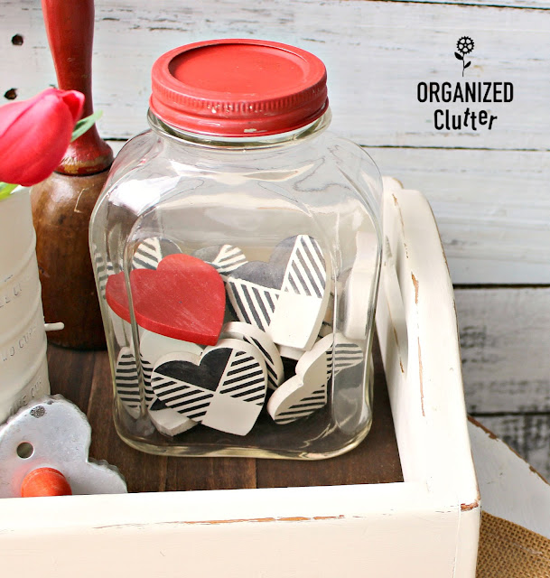 Buffalo Check Hearts In A Cool Thrift Shop Jar #oldsignstencils #stencil #valentinesday #hearts #buffalocheck