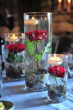 Centros de mesa com rosas