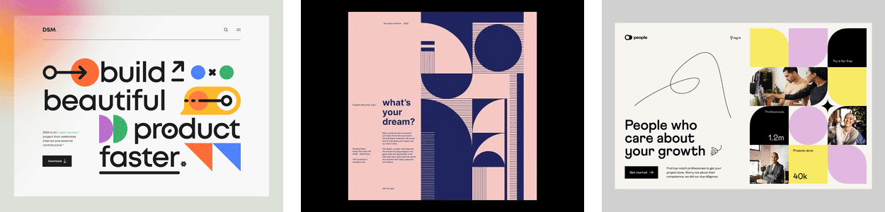 three examples of the simple geometric shapes web design trend