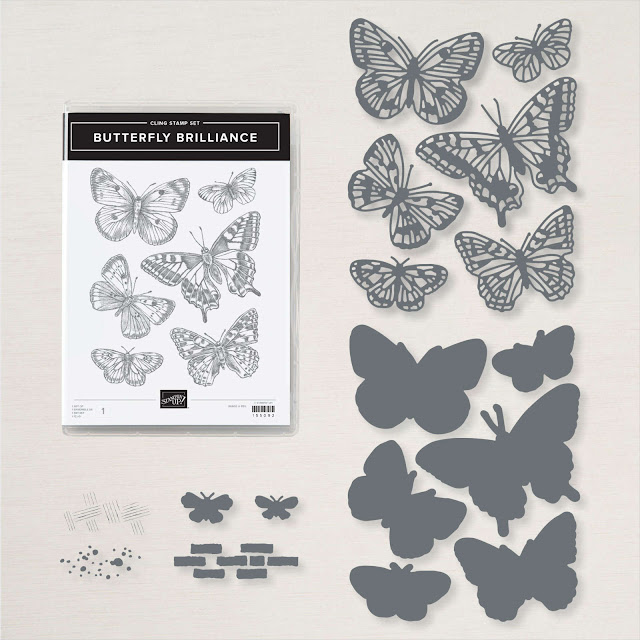 Butterfly Brilliance Bundle showing stamp set and butterfly dies