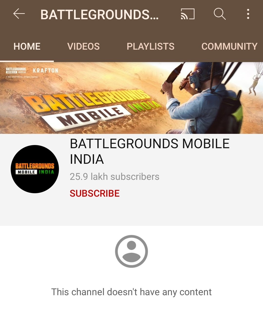 Battlegrounds Mobile India Official Youtube Page