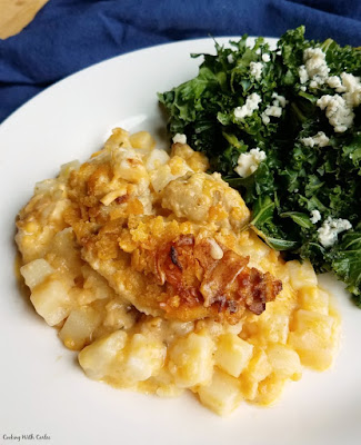 buffalo chicken casserole served with kale salad