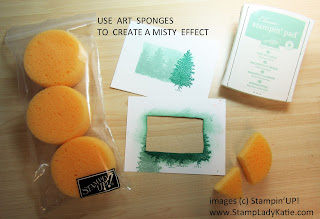 A misty forest scene made with Stampin'UP's Merry Moose stamp set and art sponges