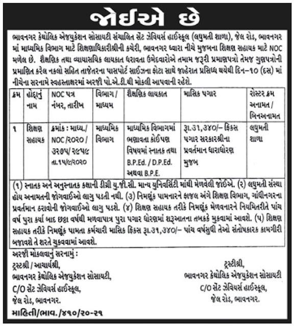 Shikshan Sahayak Recruitment for Laghumati School, Bhavnagar 2020