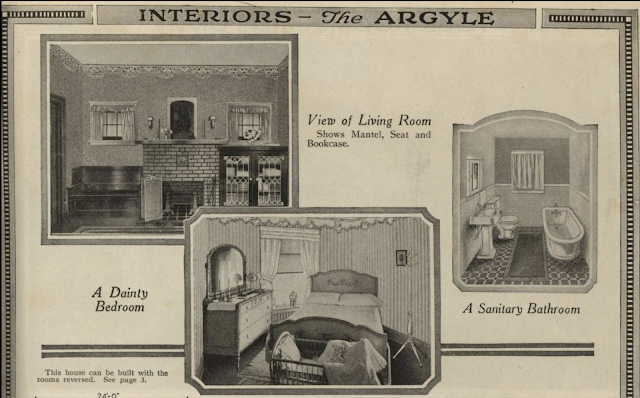 black and white print images of interiors of Sears Argyle in 1921 Sears Modern Homes catalogue