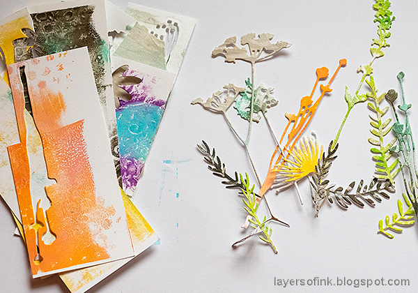 Layers of ink - Dry Embossing and Gel Printing Layout Tutorial by Anna-Karin Evaldsson. Die cutting gel printed papers. Printed with Ranger's gel printing plates.