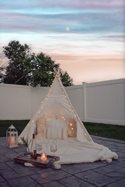 Backyard inspiration, teepee, date night ideas, backyard decor