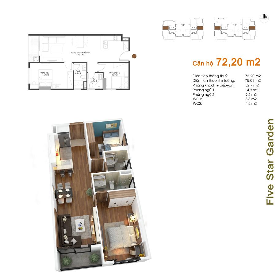 Thiết kế căn hộ 72,20 m2 Five Star Kim Giang
