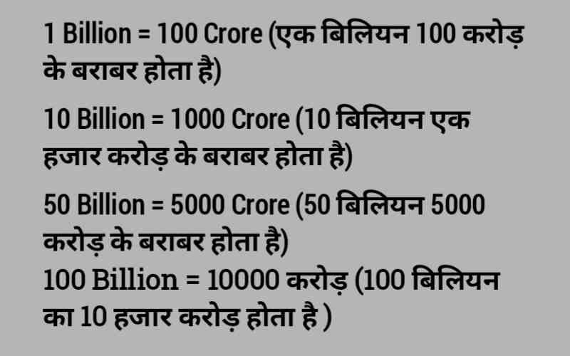 Ek Billion Kitna Hota Hai