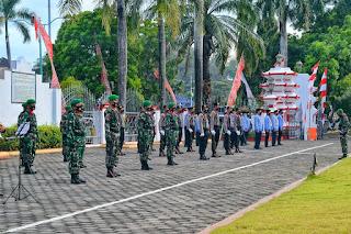 Dandim 0719/Jepara Hadiri Upacara Peringatan HUT Kemerdekaan RI Ke-75 Di Halaman Kantor Sekda Jepara.