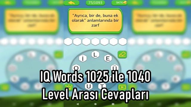 IQ Words 1025 ile 1040 Level Arasi Cevaplari