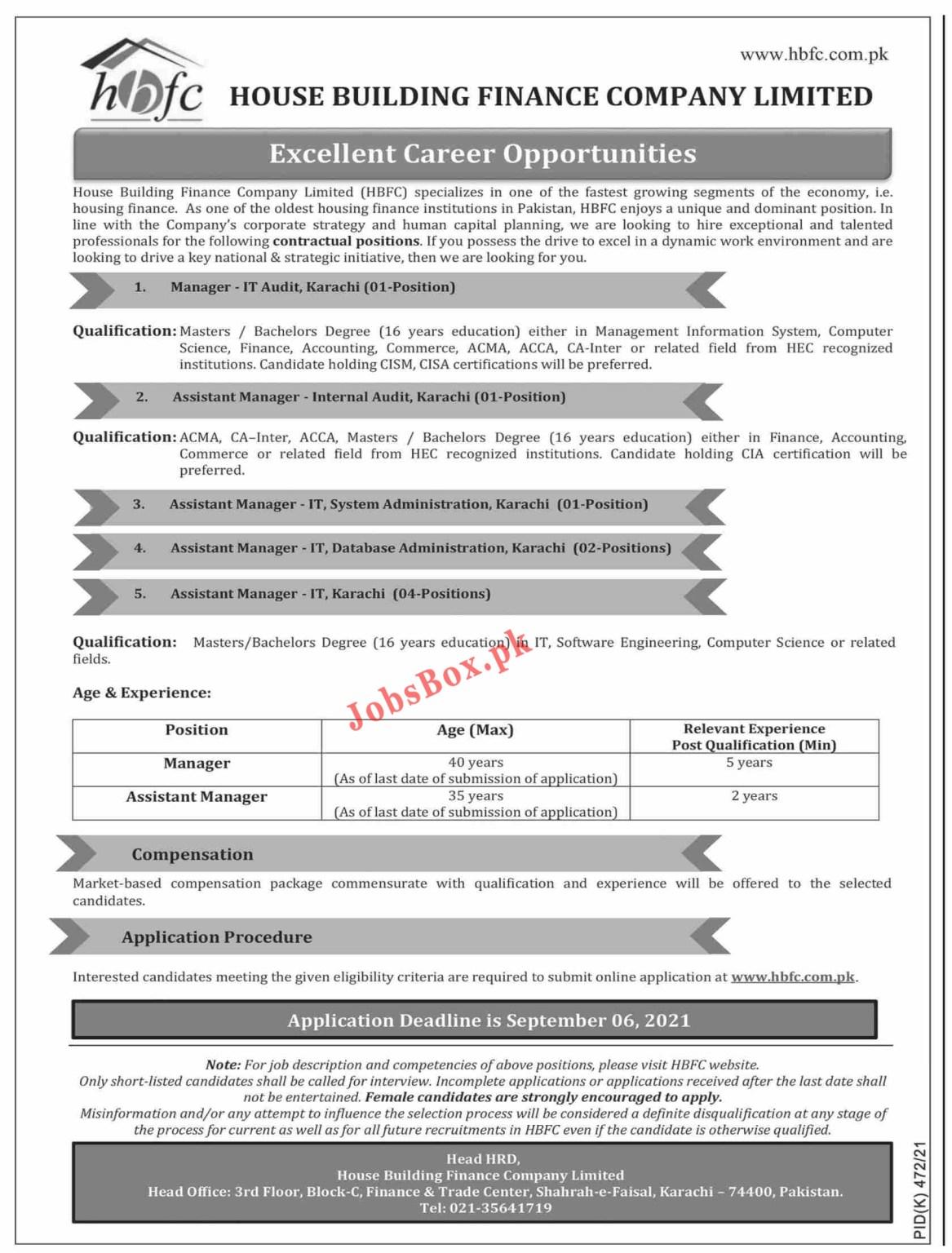 House Building Finance Company HBFC Jobs 2021- Apply via www.hbfc.com.pk