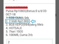 Cara Paket Internet Tri (3) 2.5GB Rp2.000 per Hari