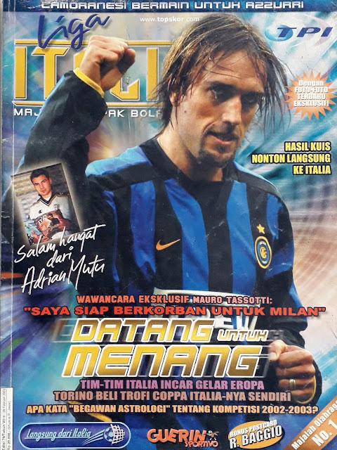 GABRIEL BATISTUTA OF INTER MILAN FOOTBALL MAGAZINE COVER