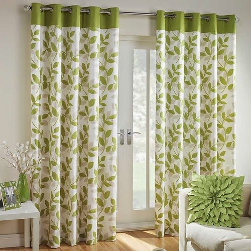 Patterned Living Room Curtains In Green Color
