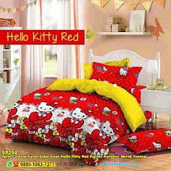 Sprei Custom Katun Lokal Anak Hello Kitty Red Kartun Karakter Merah Kuning