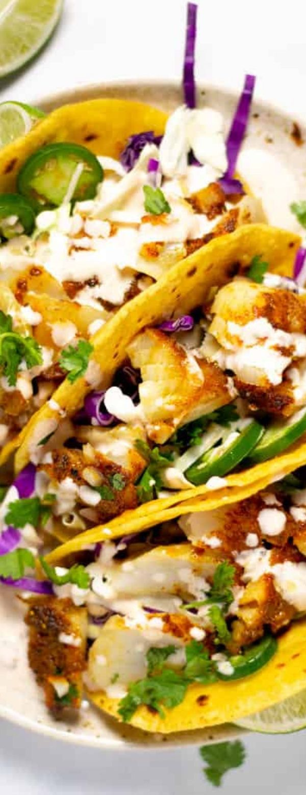 BAKED FISH TACOS WITH CHIPOTLE LIME CREAM SAUCE
