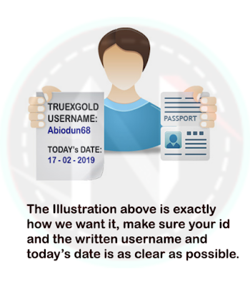 PHOTO WITH ID, TRUEXGOLD's USERNAME and TODAY's DATE