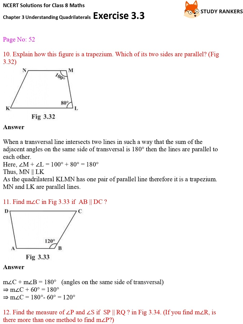NCERT Solutions for Class 8 Maths Ch 3 Understanding Quadrilaterals Exercise 3.3 6