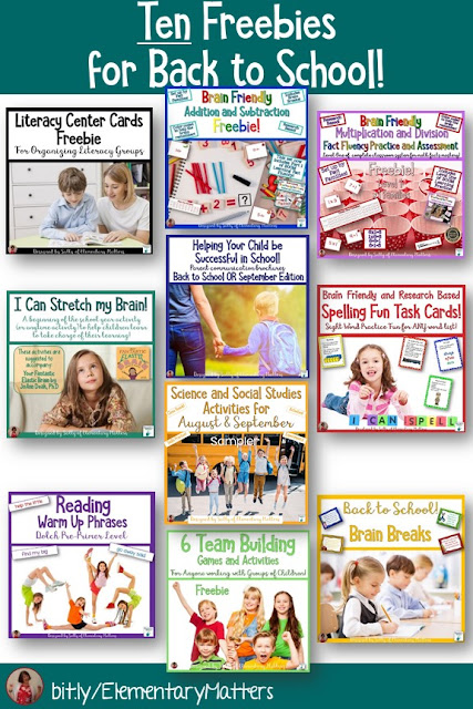 Ten Freebies for Back to School - These include parent communication, brain breaks, Science, Social Studies, literacy, and math freebies for second grade.