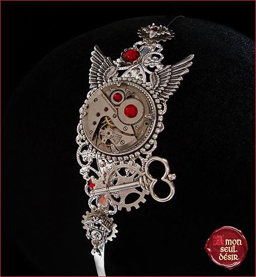 steampunk bijoux serre tete cheveux mécanisme montre ailes clé clef coucou horloge bijuoterie rouage engrenage