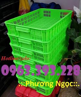 Sọt nhựa cao 10, sóng nhựa HS010, sọt trưng bày hàng hóa 61x42x10cm