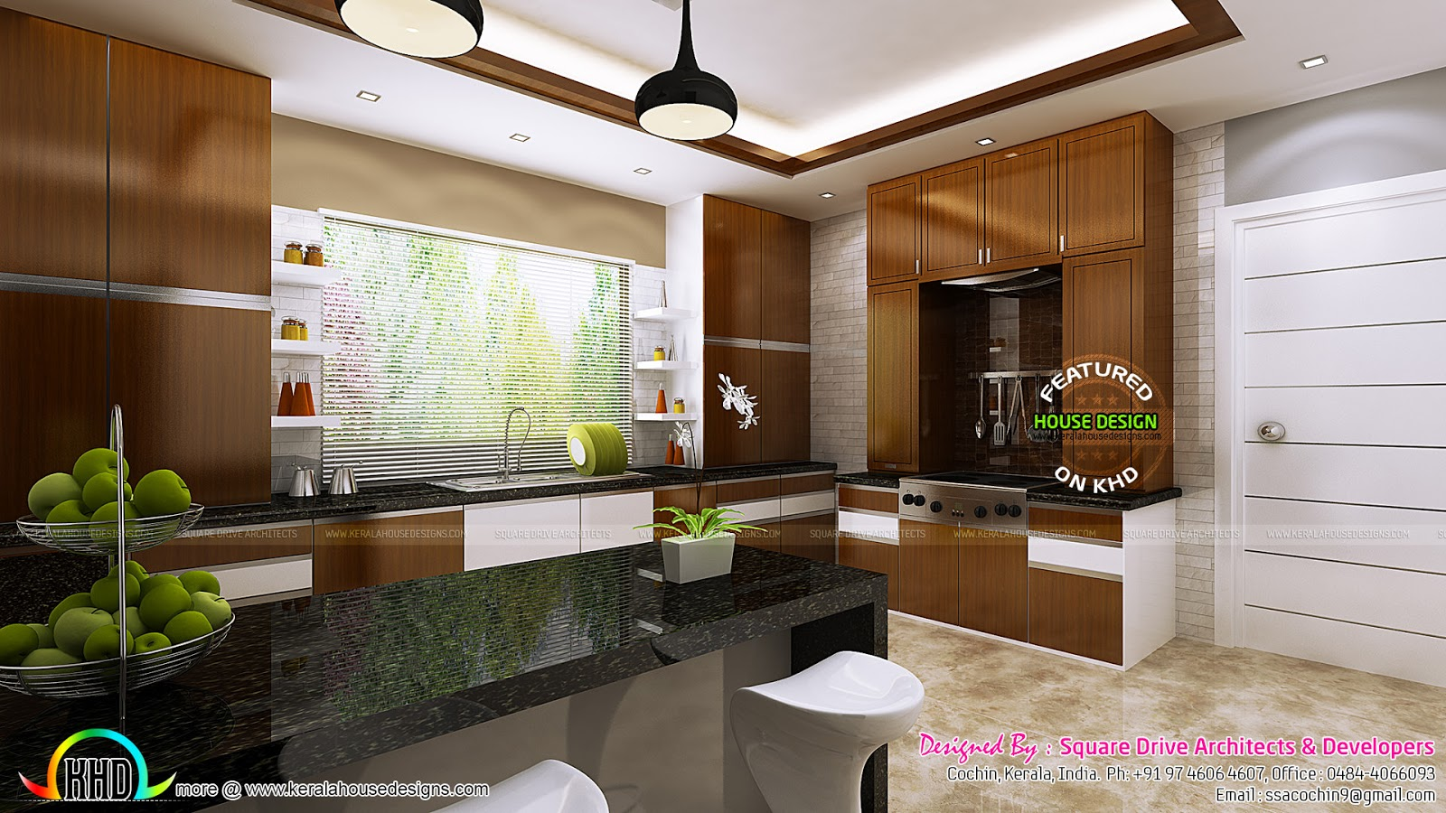 Kitchen and dining room interior ideas  Kerala home