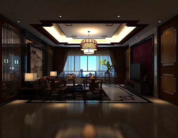 New Chinese living room MAX model autodesk 3ds max - 3d model library