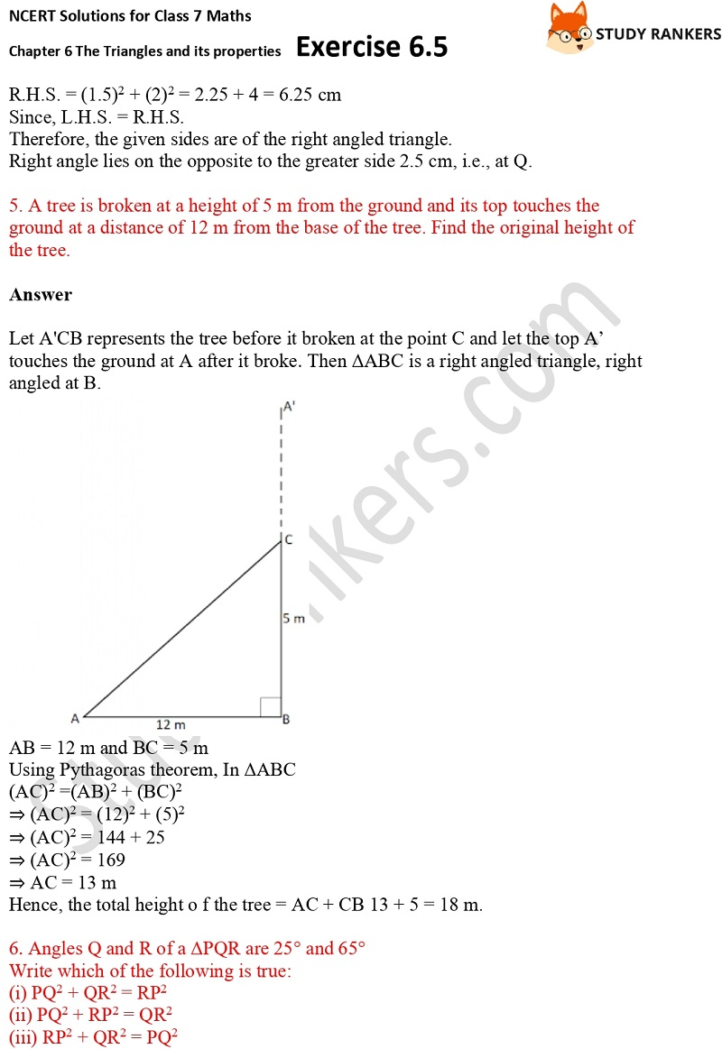 NCERT Solutions for Class 7 Maths Ch 6 The Triangles and its properties Exercise 6.5 4