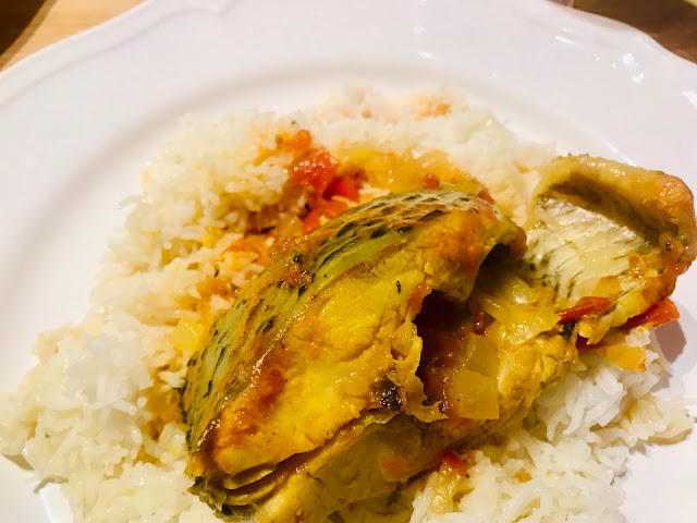 Tilapia fish saloona with rice
