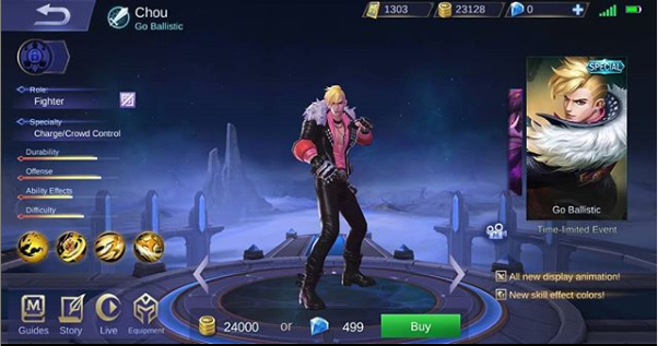 Chou Starlight Skin Go Ballistic Mobile Legends