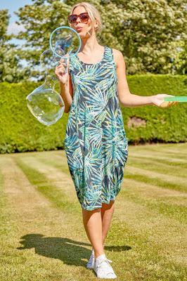 Green Leaf print Slouch Sun dress