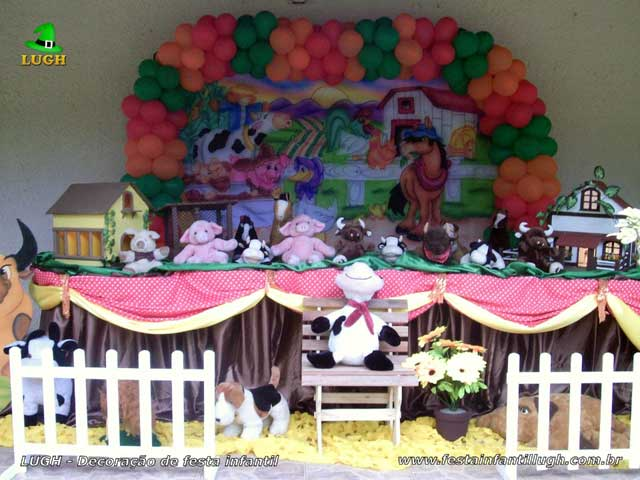 Decoração festa de aniversário - Mesa tradicional de tecido(pano) masculina tema Fazendinha