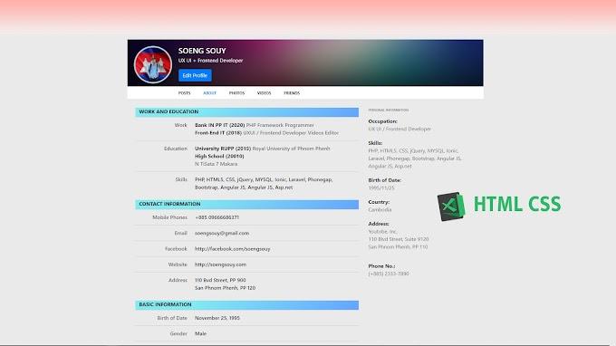CV Profile background using HTML CSS