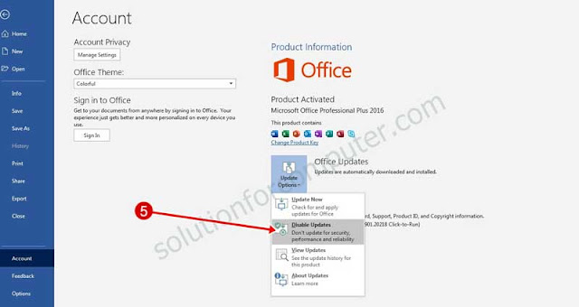 disable auto updates in office 2016