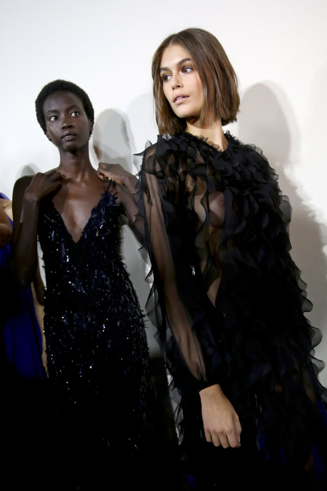 Kaia Gerber shows nipples doing catwalk at Alberta Ferretti fashion show